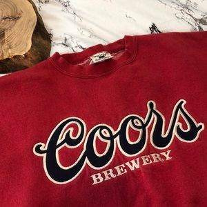 Red Vintage Coors Brewery Crew Oversized Sweater L